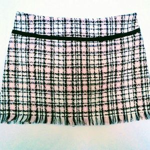 Plaid Fringe Skirt size 17 pink white black